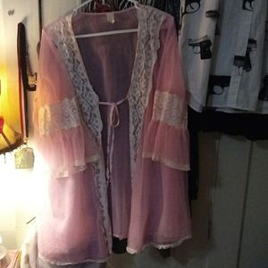 Vintage pink nylon shear gown/nighty